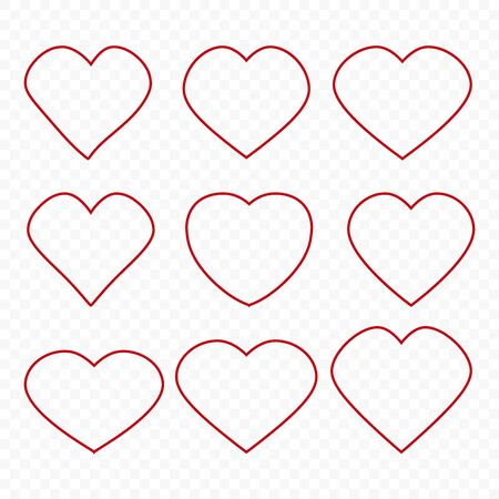 Heart vector icon. Concept of love. Set Set of hearts. Vector design abstract illustration Ilustracja