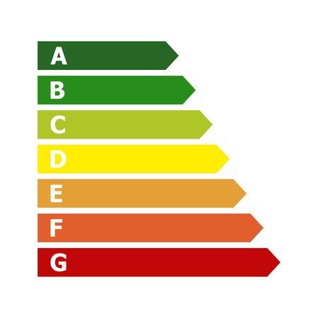 Cuadro de clasificación de eficiencia energética. Ilustración vectorial