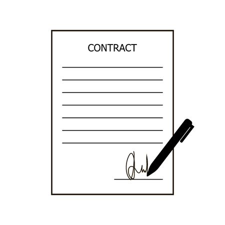 Contract vector icon. Contract signing
