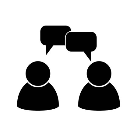 Discussion. People speaking. Chat. Two people talking. People vector icon isolated on white background Çizim