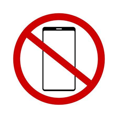 No phone vector icon. Prohibition smartphone. Vector illustration