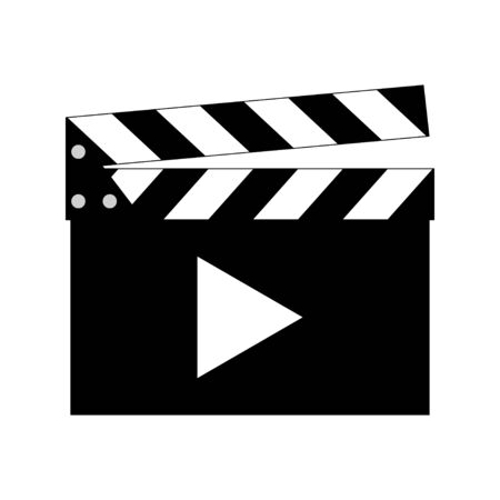Movie clapper vector icon. Vector illustration Ilustração
