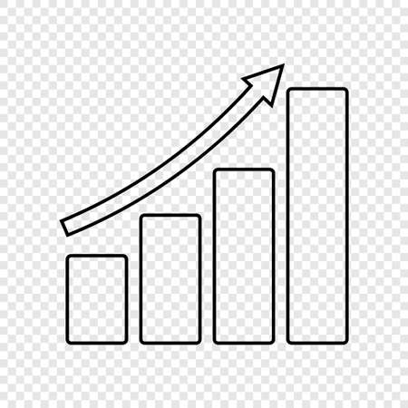 Growing graph. Infographic. Diagram vector icon Vettoriali