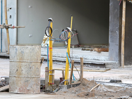electrical wiring digging on a home construction site