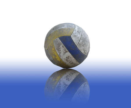 old Volleyball on reflect floor Stock Photo