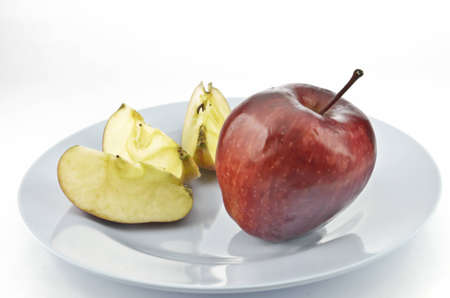close up of apple on dish