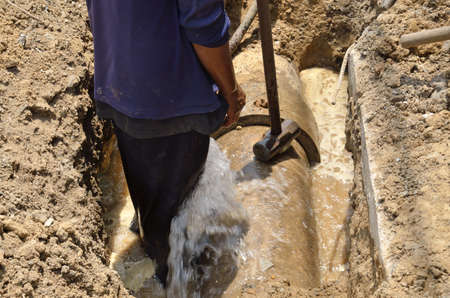 leaking of water on Asbestos cement pipe  Editorial