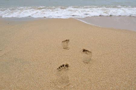Footmark on the beach,It Stock Photo - 13549359