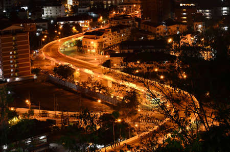 Curved street at night,View point of Pattaya city,Thailand Stock Photo