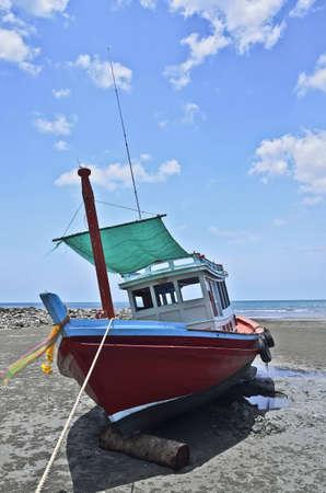 Boat on the beach, Huahin,travel city of Thailand Stock Photo - 13594630