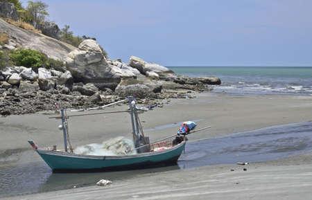 Boat on the beach, Huahin,travel city of Thailand photo