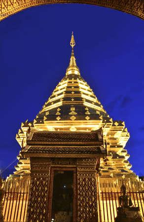 Golden Pagoda on twilight in wat Prathart Doi Suthep,Chiang mai,Thailand Stock Photo - 14007200