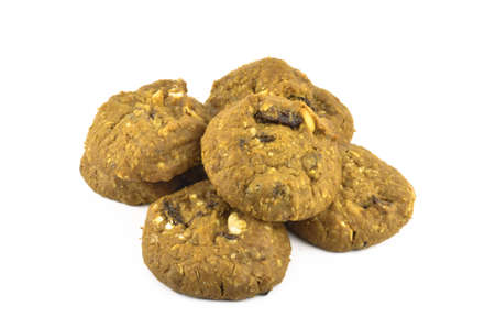 Close up of Oatmeal cookies on white background photo