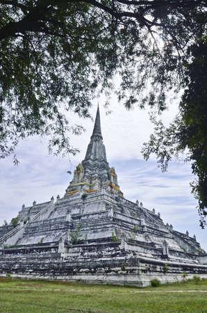 ancient white pagoda in Ayuthaya,thailand photo