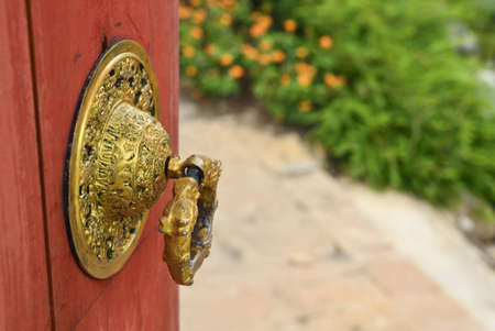 chinese style door knob in temple photo