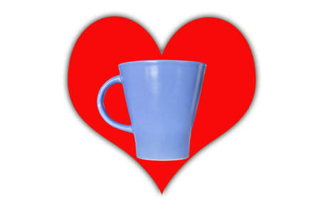romantic blue coffee cup isolate on white photo