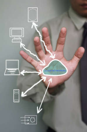 cloud network in hand of business man