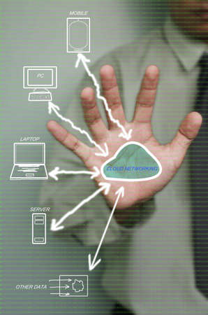 digital technology,cloud network in hand of business man photo
