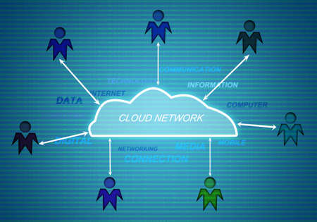 cloudshape: people connect to cloud networking digital technology