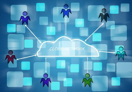 cloudshape: peple connect to cloud networking digital technogy  Stock Photo