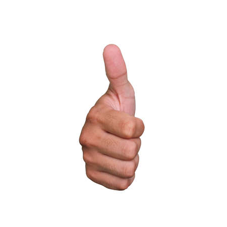 right hand thumb up on white background