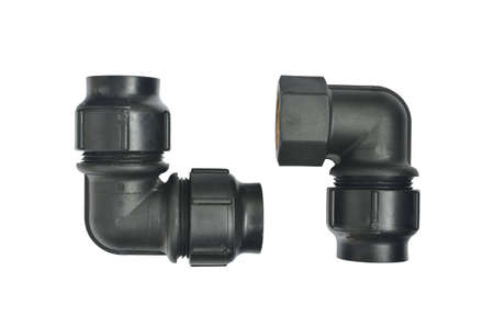 pipe fittings on white background Stock Photo