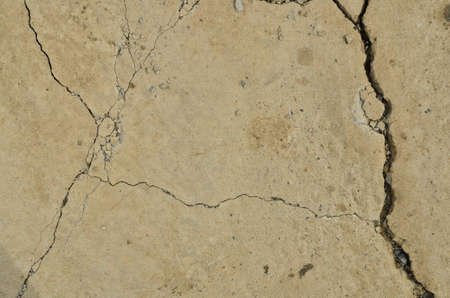 detail of cracked concrete road