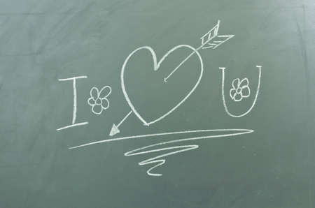 I love You conception writed on blackboard photo