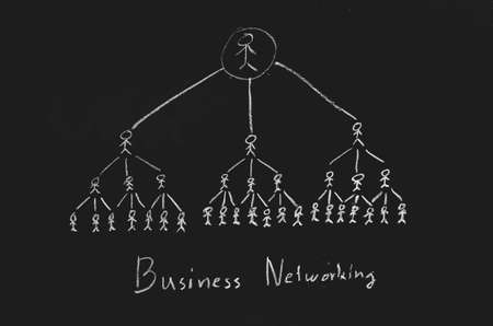 business networking concept on blackboard