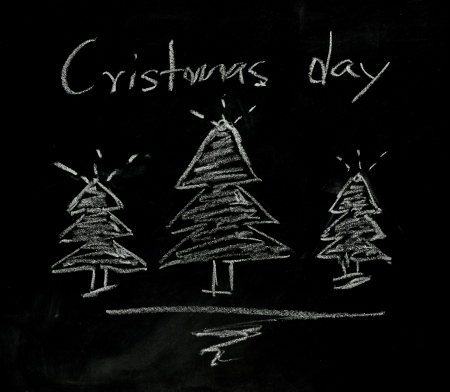 white chalks: Christmas sign on blackboard