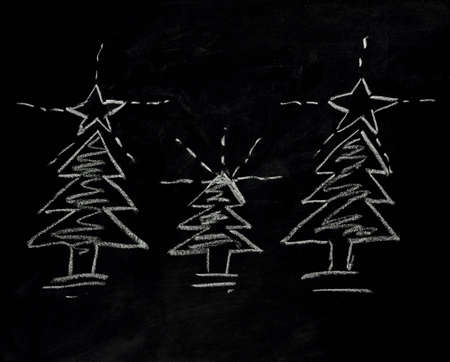 christmas tree on blackboard photo