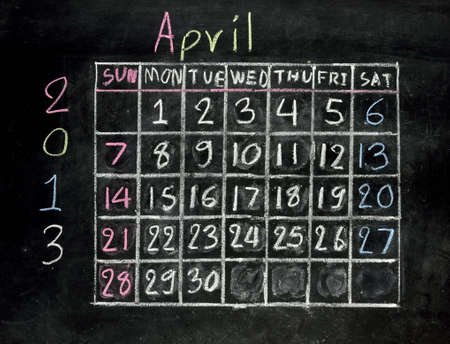 calendar  april 2013  on a blackboard photo