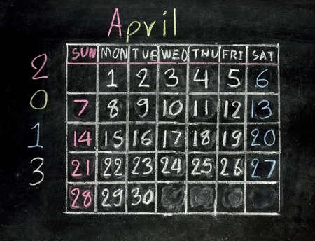 calendar  april 2013  on a blackboard Stock Photo - 16601099