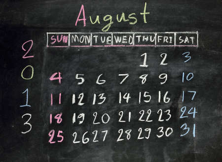 calendar  august 2013  on a blackboard photo