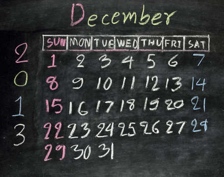 calendar  december 2013  on a blackboard photo