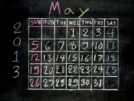 calendar may 2013 on a blackboard