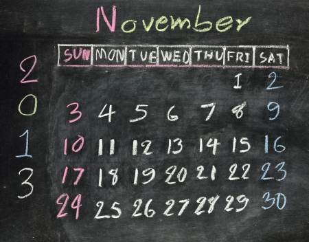 calendar november 2013 on a blackboard