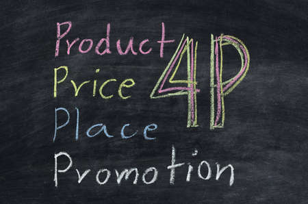marketing concept 4p, Product, Place, Promotion, Price on blackboard