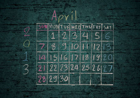 calendar April 2013 on grunge texture blackground photo