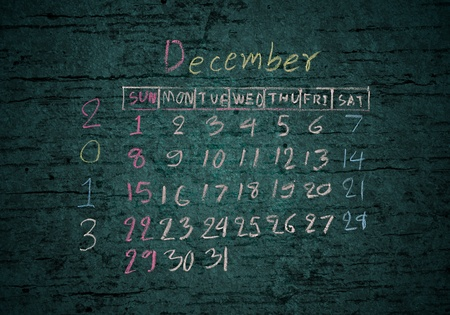 calendar December 2013 on grunge texture blackground photo
