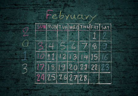 calendar February 2013 on grunge texture blackground photo