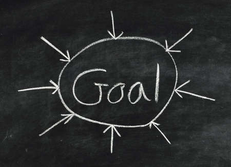 The word Goal,abstract written on a blackboard photo