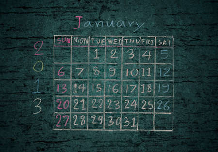 calendar January 2013 on grunge texture blackground photo