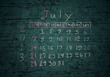 calendar July 2013 on grunge texture blackground photo