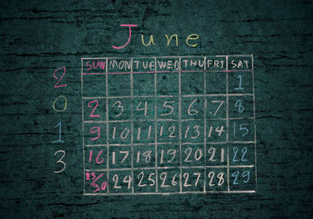 calendar June 2013 on grunge texture blackground photo