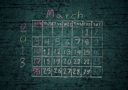 calendar March 2013 on grunge texture blackground photo