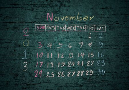 calendar November 2013 on grunge texture blackground photo