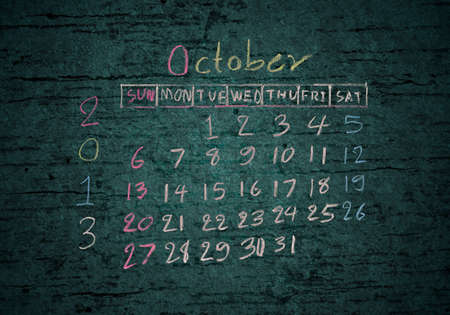calendar October 2013 on grunge texture blackground photo