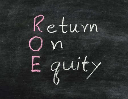 equity: earn concept Return on equity written on blackboard Stock Photo