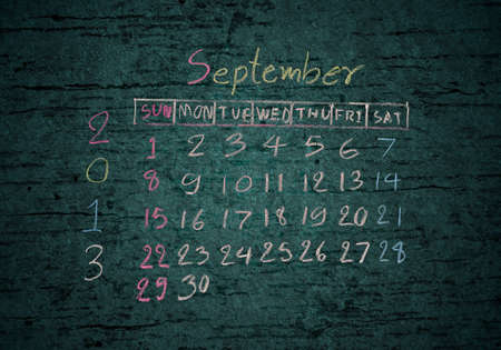 calendar September 2013 on grunge texture blackground photo